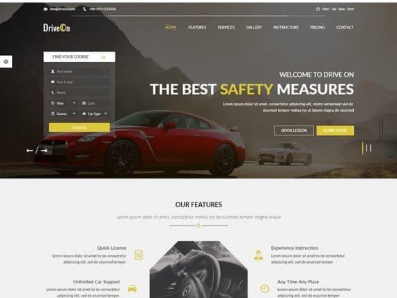 DriveOn – Driving School HTML Template
