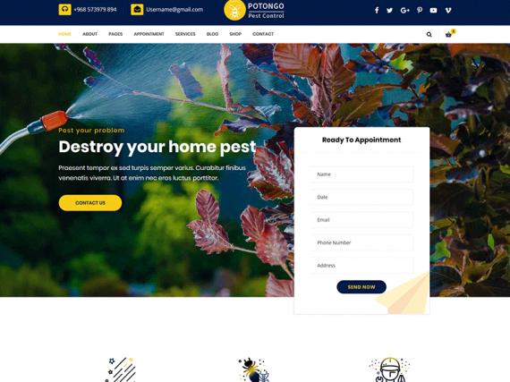 Potongo – Pest Control service HTML Template
