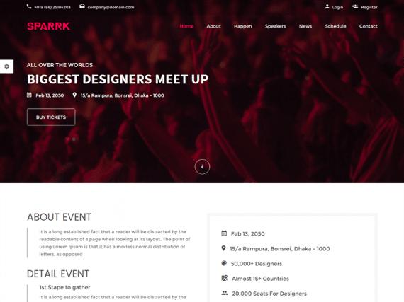 Sparrk – Event & Conference HTML5 Template